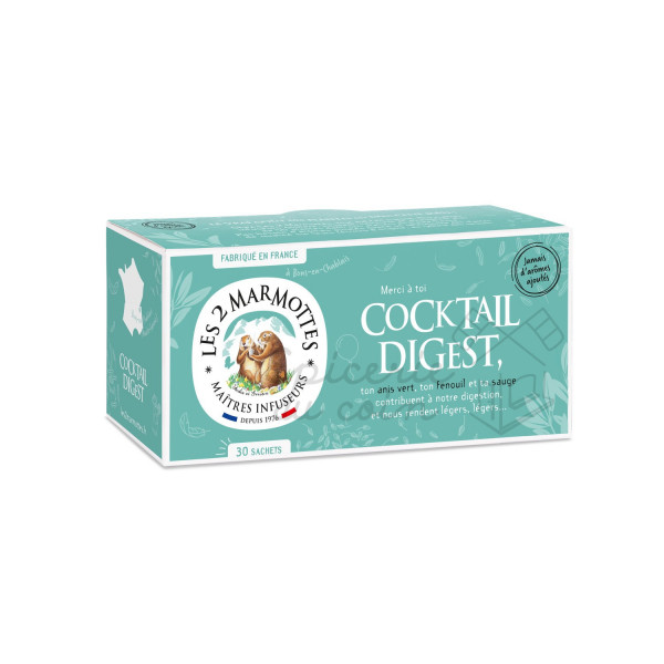 Les 2 Marmottes Infusions Cocktail Digest 30 sachets 55g